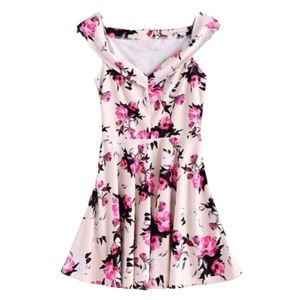 Floral Print V-Neck A Line Sleeveless Dress
